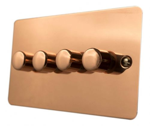 G&H FBC14 Flat Plate Bright Copper 4 Gang 1 or 2 Way 40-400W Dimmer Switch